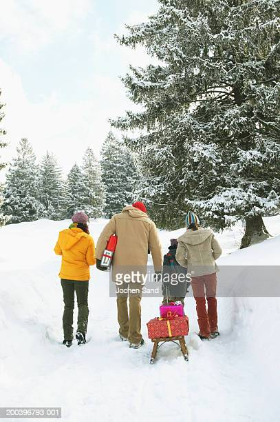 Family walking in snow, boy pulling sledge with presents, rear view