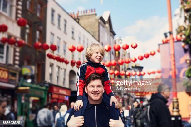 Family walking through Chinatown