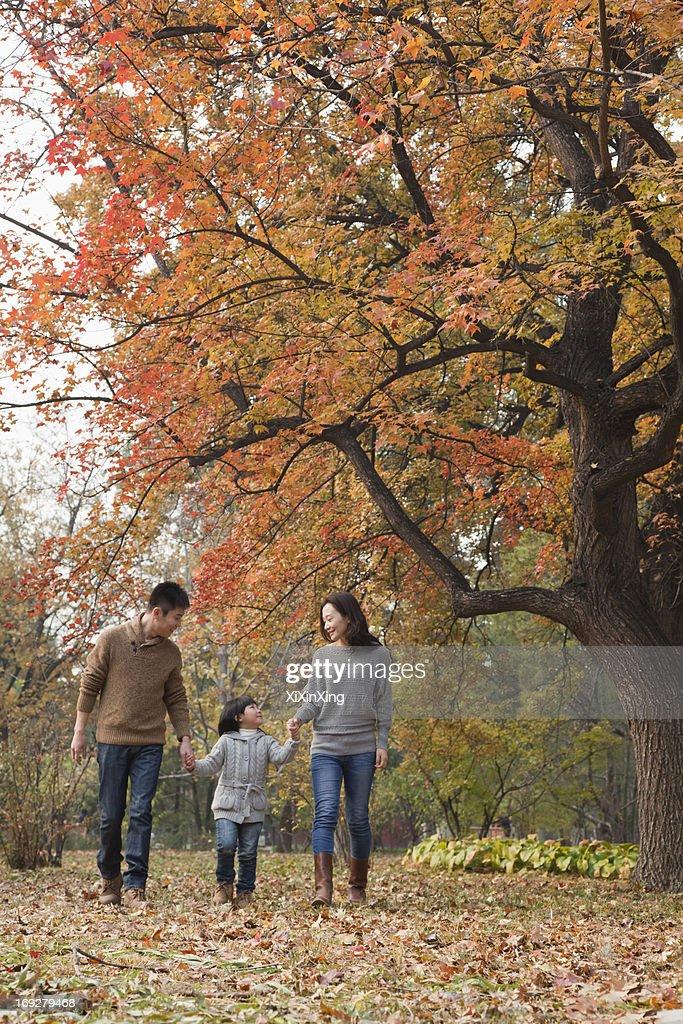 Family walking through the park in the autumn : Stock Photo