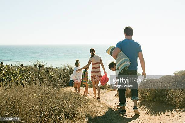 Family walking to beach