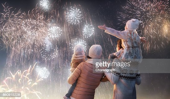 家族花火を見て : ストックフォト