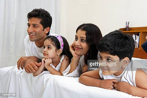 Family watching television