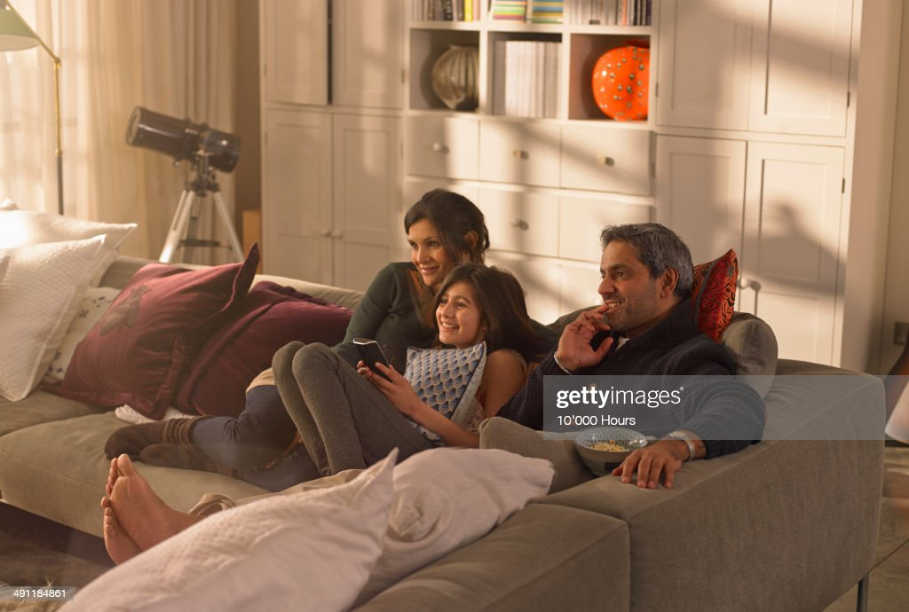 A family watching television