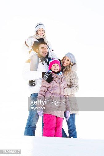 Family winter portrait. : Stock Photo