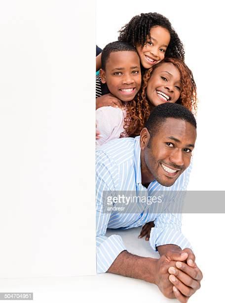 Familie mit einem banner