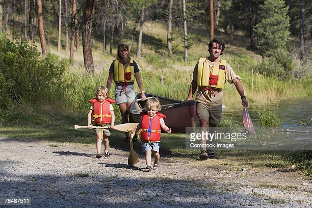 Family with a canoe