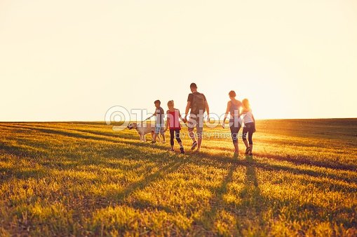 Family with dog on the trip : Stock Photo
