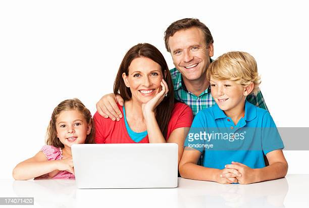 Family with laptop isolated on white background