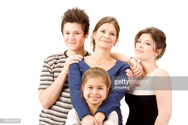 Family with three kids on white background