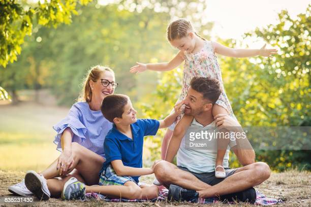 Family with two children on picnic