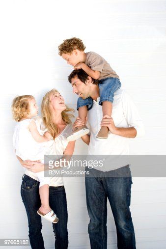 Family with two children : Bildbanksbilder