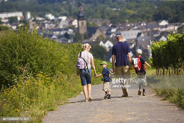 Family with two children (4-8) walking on country road, rear view