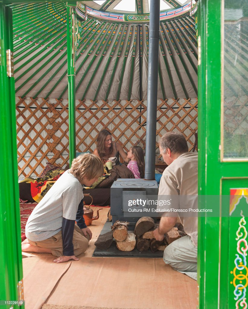 Family Yurt camping to rediscover nature : Stock Photo