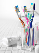 Family Toothbrushes on Tiles