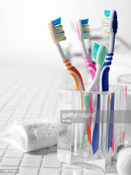 A family's colorful toothbrushes on tile