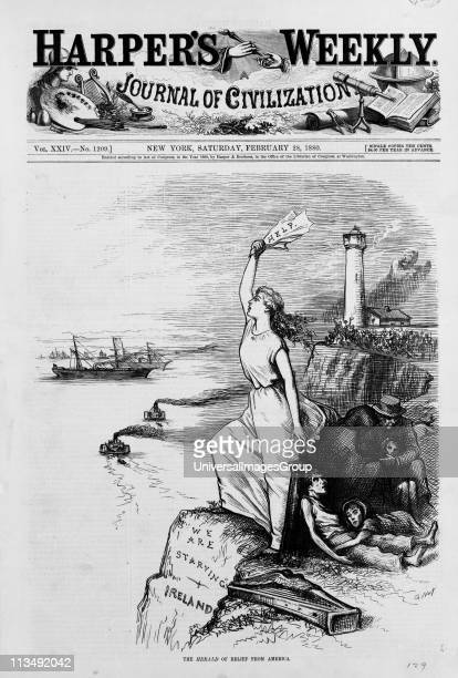 Famine in Ireland 1880 Front page of 'Harper's Weekly' 28 February 1880 showing Ireland standing on the cliffs signalling for help from America while...