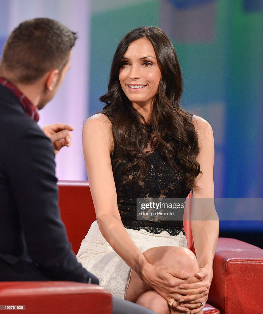 Famke Janssen appears on 'George Stroumboulopoulos Tonight' at CBC Broadcast Centre on April 16, 2013 in Toronto, Canada.