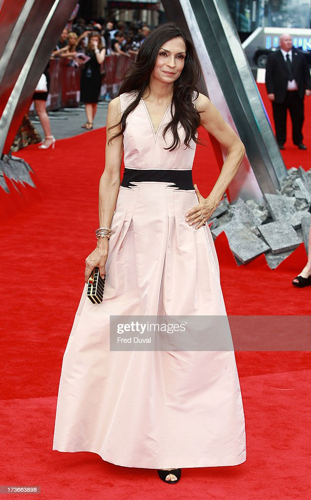 <a gi-track='captionPersonalityLinkClicked' href=/galleries/search?phrase=Famke+Janssen&family=editorial&specificpeople=202594 ng-click='$event.stopPropagation()'>Famke Janssen</a> attends the UK film premiere of 'The Wolverine' at The Empire Cinema on July 16, 2013 in London, England.