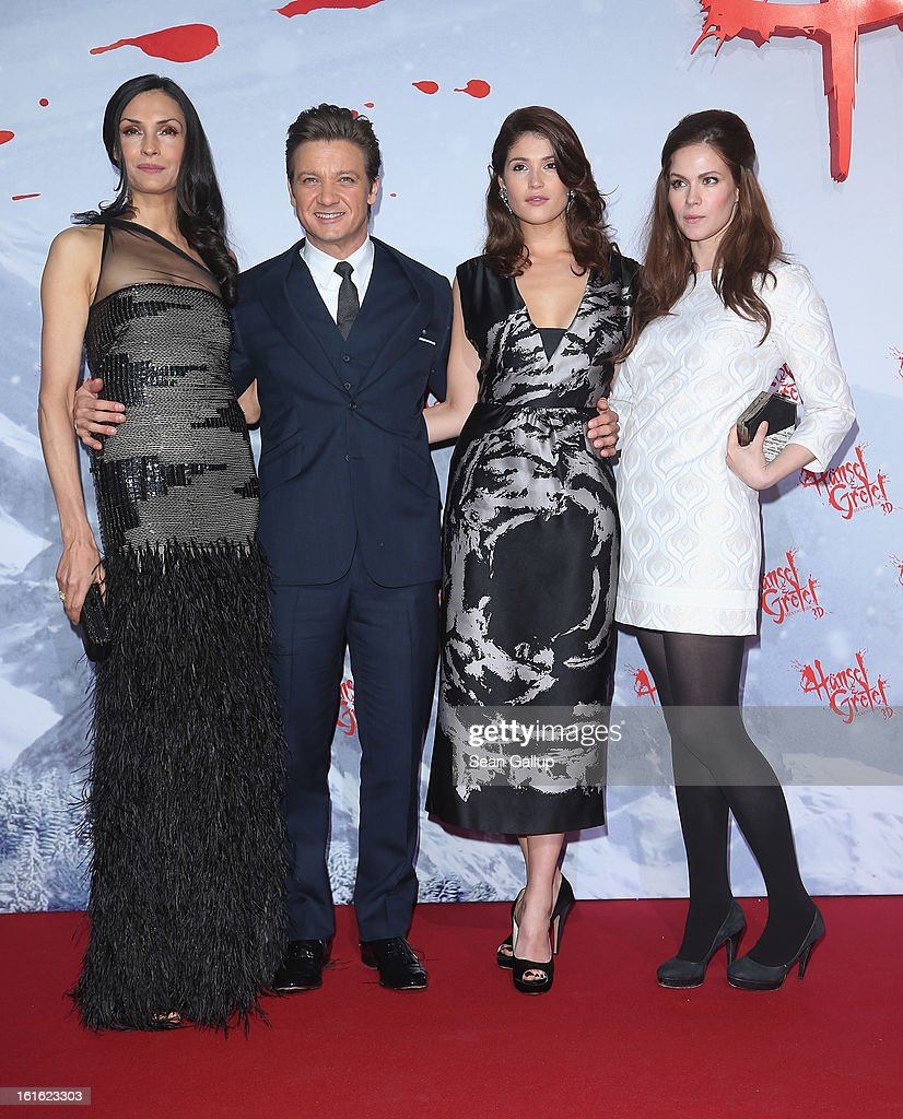 Famke Janssen, Jeremy Renner, Gemma Arterton and Pihla Viitala attend the German premiere of 'Hansel and Gretel: Witch Hunters' at the Kulturbrauerei on February 12, 2013 in Berlin, Germany.