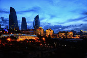 Night view from Baku's mountain park. Night panoramic view of Baku. A bird's-eye view. Republic of Azerbaijan