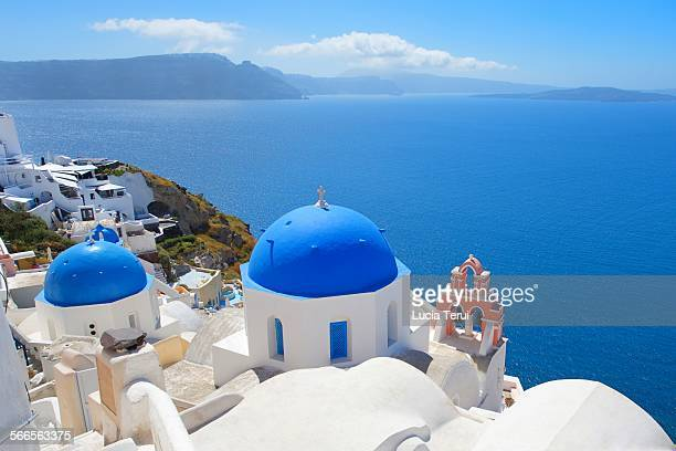 Famous blue domes of Oia in Santorini, Greece.
