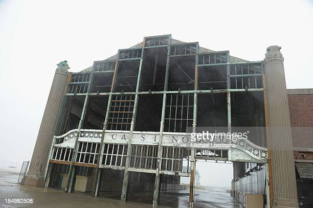 A famous Casino landmark on the boardwalk faces Hurricane Sandy on October 29 2012 in Asbury Park New Jersey The storm which threatens 50 million...