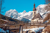 Beautiful and famous chapel in Ramsau, Berchtesgaden, Germany on a sunny winter day