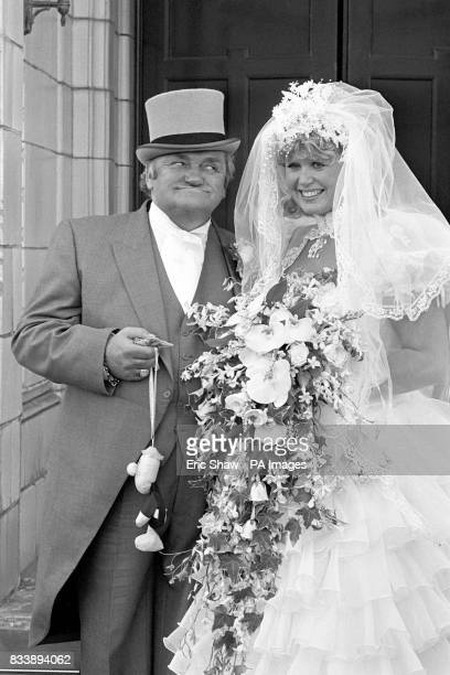 Famous cheeky grin from comedian Les Dawson and his birthday girl bride former barmaid Tracey Roper after their wedding in Lytham St Annes in...