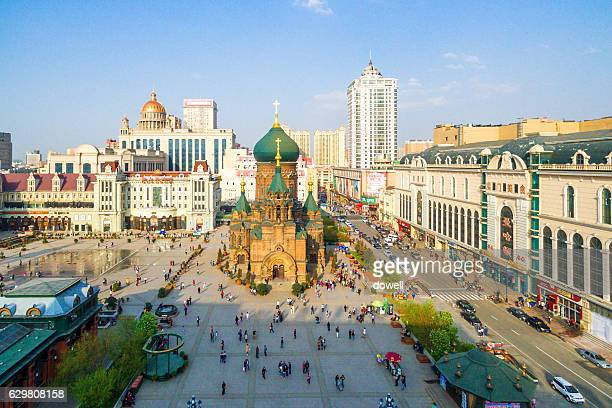 famous classic building in harbin in blue sky