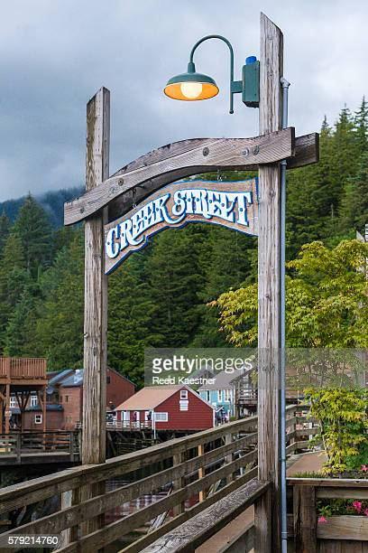 Famous Creek Street, Ketchikan, Alaska with it's elevated boardwalk and tourist shops