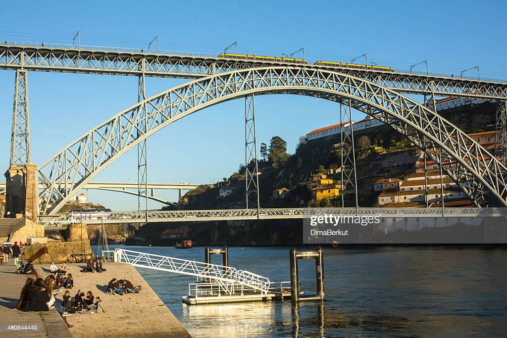 Famous Dom Luis I Bridge at Ribeira in Porto : Stock Photo