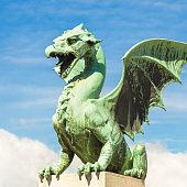 Famous Dragon bridge, Zmajski most, symbol of Ljubljana, capital of Slovenia, Europe.