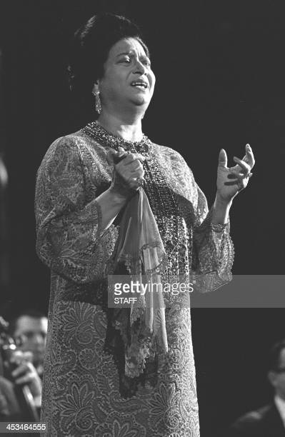 Famous Egyptian singer Umm Kulthum performs 31 January 1967 on the Olympia' s stage in Paris where the whole European Arab people is come to applaud...