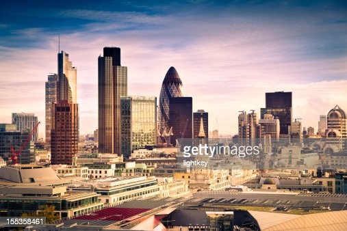 Famous financial district in London