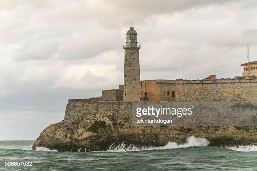 famous historical sea lantern at entrance of havana bay cuba : Stock Photo