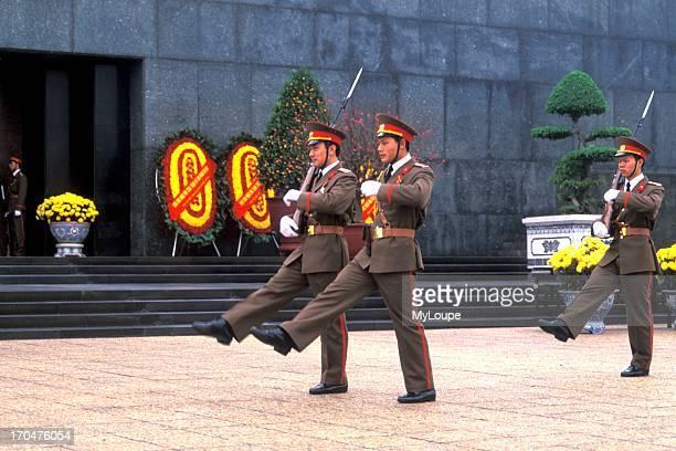 Famous Ho Chi Ming Mausoleum Soldiers Landmark Hanoi Politics Communism Vietnam