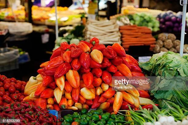 famous Hungarian paprika at the market