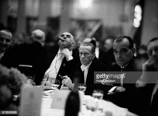 Famous jockey Freddy Fox listens to a speech given by Lord Lonsdale at the 43rd Anniversary Dinner of the 'Eccentric Club' at Grosvenor House in...