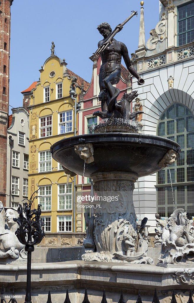 Famous Neptune fountain at Dlugi Targ square. : Stock Photo