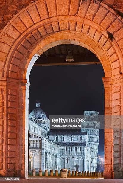 Famous Piazza dei Miracoli in Pisa by night Italian landmark