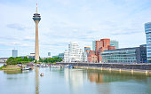 Media Harbor at Rhine in Dusseldorf in Germany / Living at Rhine