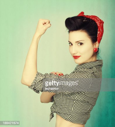 Famous retro Rosie Riveter pose poster