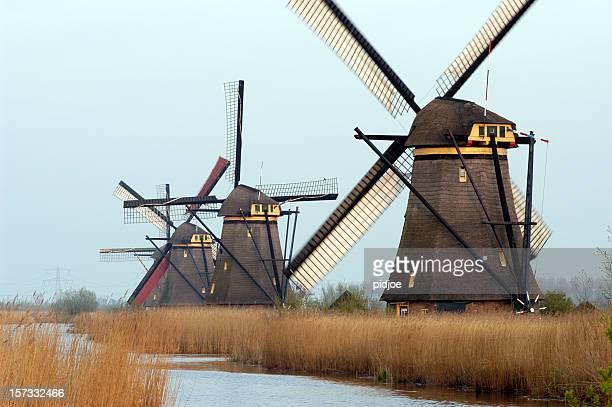 famous row of Dutch windmills