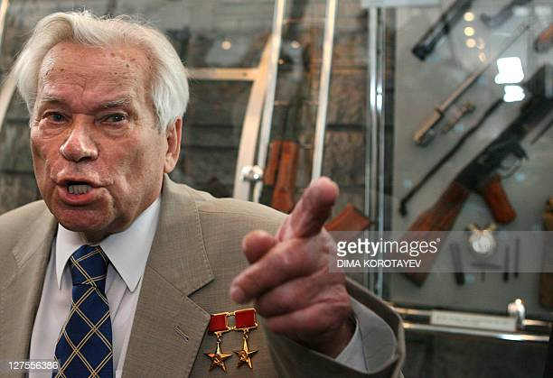 Famous Russian weapon designer Mikhail Kalashnikov the inventor of a legendary AK47 assault rifle talks to the media during a ceremony of celebrating...