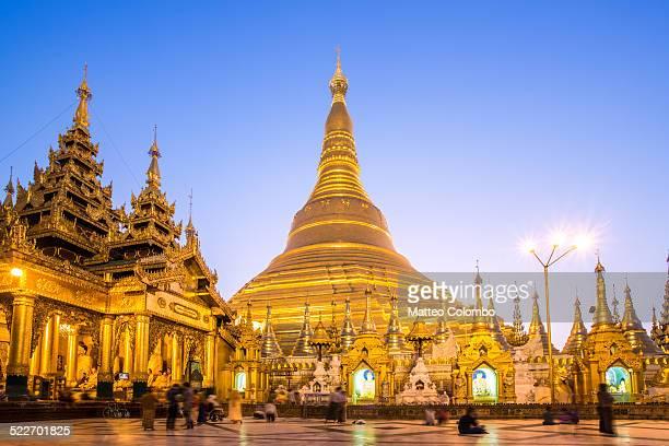 Famous Shwedagon golden pagoda at dusk, Myanmar