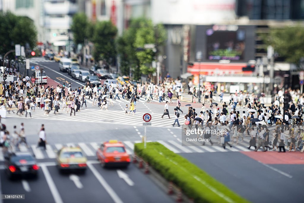 Famous six way pedestrian crossing photographed with tilt lens in Shibuya, Tokyo, Japan : Stock Photo