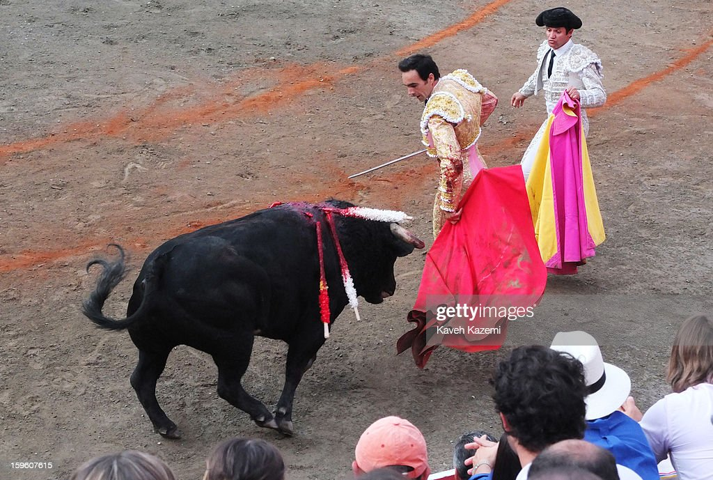 Famous Spanish bullfighter Manuel Jesus Cid Salas otherwise known as El Cid fights a bull during the annual fair on January 11, 2013 in Manizales, Colombia. The festival, is hosted in the city of Manizales in Colombia's central coffee region. Starting out as a trade fair, it has grown over the years to become one of Colombia's most important annual events.
