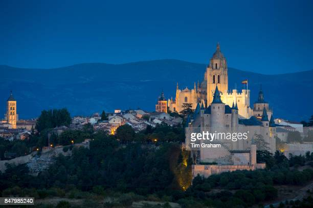 Famous spectacular view of Alcazar Castle palace and fortress which inspired Disney castle and Cathedral in Segovia Spain