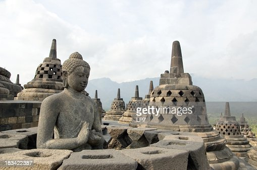 Famous touristic attraction of Borobodur in Java, Indonesia