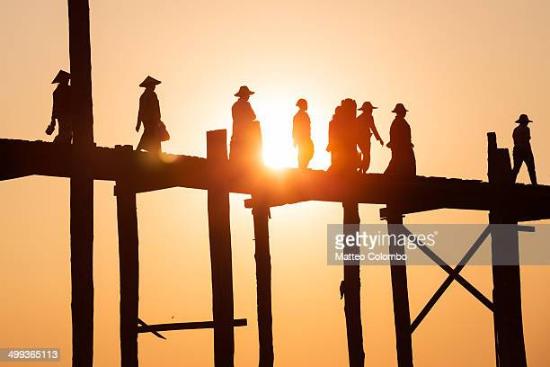 Famous U Bein bridge at sunset